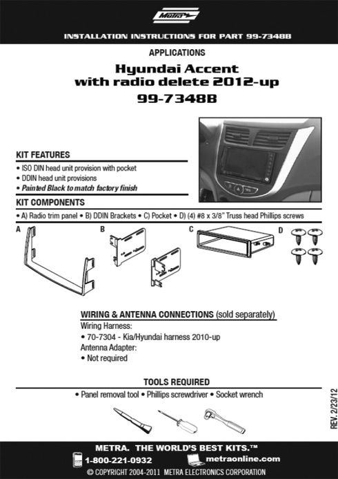 New Metra Kit - Hyundai Accent with Radio